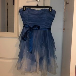 Strapless blue and white dress